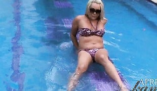 Hot Blonde Shemale Flashing In The Hotel Swimming Pool