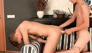 Skinny blonde twink top bangs asshole doggystyle