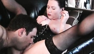 Man worships pussy of smoking dominatrix
