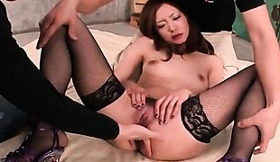Japanese slut in fishnet stockings finger banged