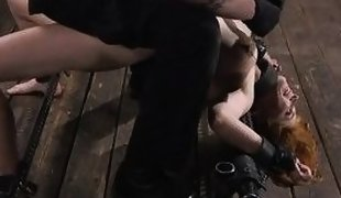 cruel punisher pierces her nipples with a sharp needle