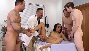 Ebony beauty gets triple-teamed at the hospital