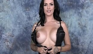 Facial abuse for a tatted-up brunette hooker