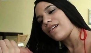 Fellow oils ass of chick before banging her snatch